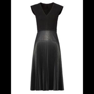 Rebecca Taylor V-Neck Knit Faux Leather Dress